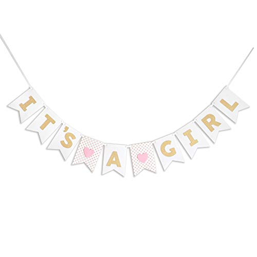 - DecoMod It's A Girl Banner Laser Cut Felt 50 inches Wide - Pink White Gold Shimmer Glitter Hearts Polka Dot