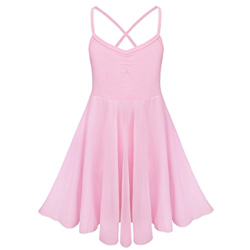Dress Pink Ballerina - TiaoBug Girls Spaghetti Chiffon Ballet Dance Dress Gymnastics Leotard Ballerina Costume Pink 5-6