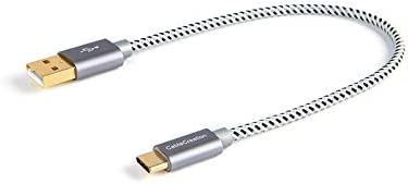 CableCreation Short USB C Cable 3A Fast Charging, 0.8ft USB C to A Cable Braided 480Mbps Data, Compatible with New MacBook, Galaxy S10/S9, Pixel 3 XL, Gray [56K Resistor]