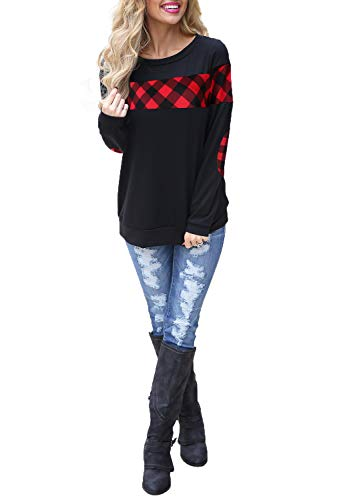 Blooming Jelly Women's Color Block Plaid Shirt Crew Neck Elbow Patches Pullover Sweatshirt Top(M) Black ()