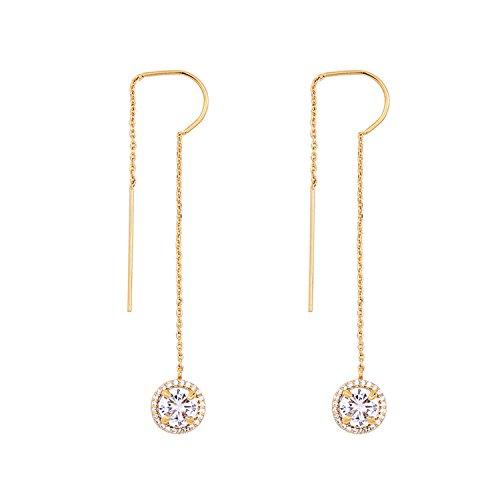 - Japanese and Korean temperament earrings simple shiny zircon pendant wild tassel,Gold-1