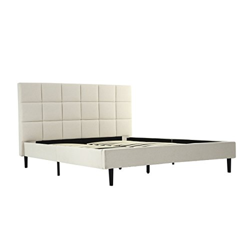 Belleze Queen Size Bed Frame | Scallop Tufted Upholstered He