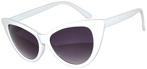 Ladies New Fashion Vintage Cat Eye Sunglasses Many Colors OWL. (White_Smoke-Purple, PC - White Sunglasses Ladies