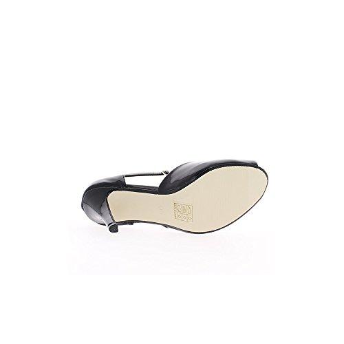 Escarpins ouverts noirs à talons de 11cm et plateau de 2cm
