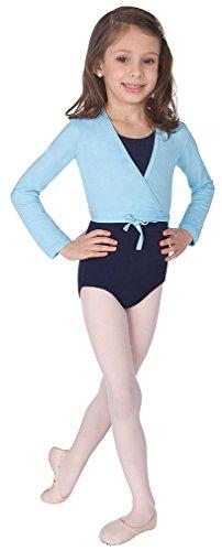 Body Wrappers Long Sleeve Wrap Sweater, Light Blue, 8-10