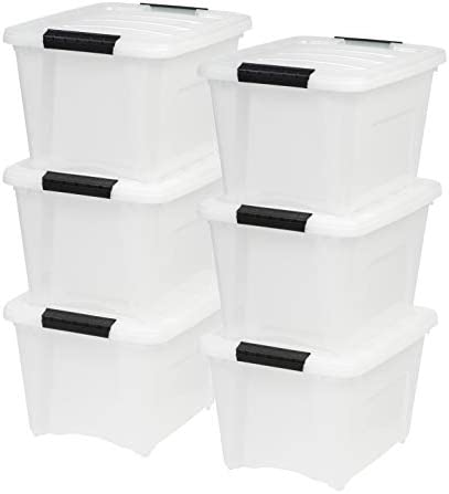 IRIS USA TB-17 19 Quart Stack & Pull Box, Multi-Purpose Storage Bin, 6 Pack, Pearl