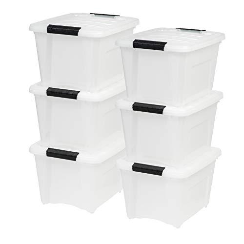 IRIS USA, Inc TB-17 19 Quart Stack & Pull Box, Multi-Purpose Storage Bin, 6 Pack, Pearl