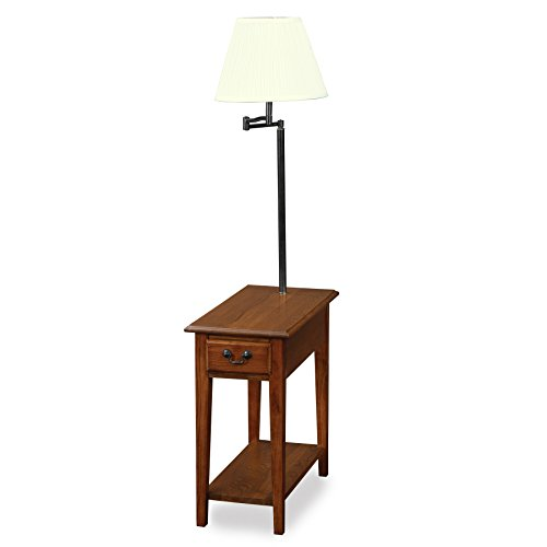 - Leick Chairside lamp Table with Drawer - Medium Oak