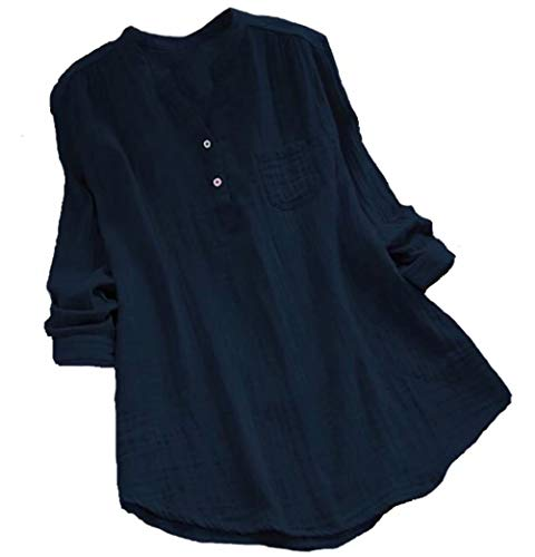 MNLYBABY Women Cotton Linen Oversized Blouse Stand Collar Long Sleeve Loose Tunic Top T-Shirt Size XL (Navy)