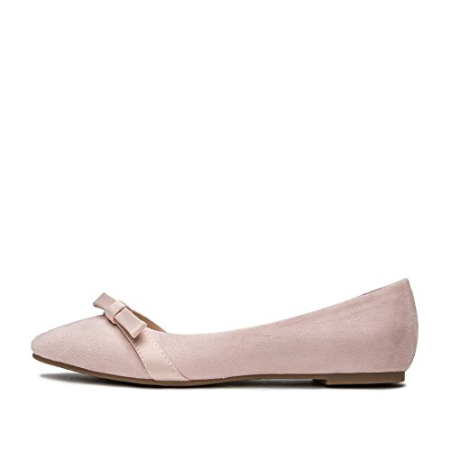 punta scarpe rotonda profonde DHG Rosa a bellezza signora bianche primavera dolce 34 scarpe piatte Scarpe carina nastro scarpe IxxBPg