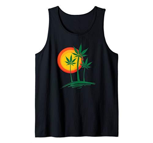 Beautiful Marijuana Weed Palm Tree Paradise Tank Top