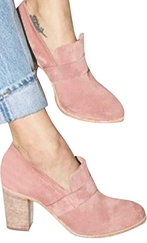 Faionny Women Round Toe High Heels Suede Leather Boots Slip-On Single Shoes Solid Ankle Boots Sneakers Pink
