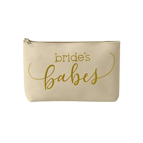 Bridal Party + Bride Makeup Bags - Leather Cosmetic Bags for Bachelorette Parties, Weddings, Bridal Showers (1 Bag, Cream - Bride's Babes)