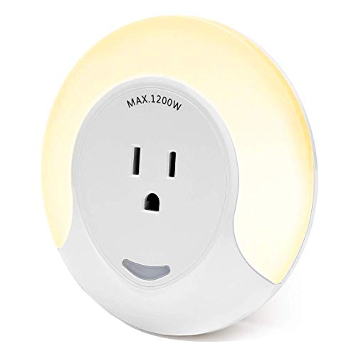 Round Night Light Outlet Extender JACKYLED Dusk to Dawn Sensor LED Plug in Night Light AC Wall Charger Adapter with Switch Control Light Lamp for Kids Bedroom Hallway Kitchen, Warm - Light Round Night