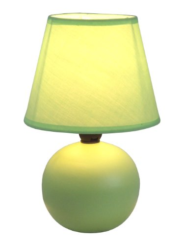 Simple Designs LT2008-GRN Mini Ceramic Globe Table Lamp, Green (Lime Lamp Green)