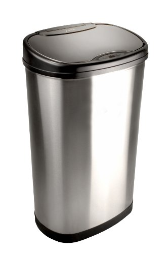 Nine Stars DZT-50-13 Infrared Touchless Stainless Steel Trash Can, 13.2-Gallon (Oval Garbage Can)