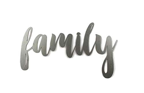 (Family Small Size Raw Steel Unpainted Word Art)