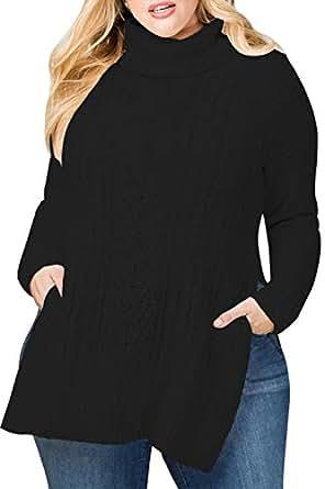 Sovoyontee Women Black Turtleneck High Low Hem Sweater Plus Size 4XL