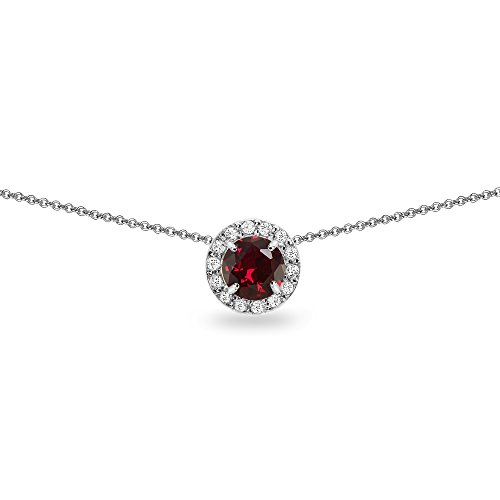 (Sterling Silver Created Ruby and White Topaz Round Halo Slide Choker)