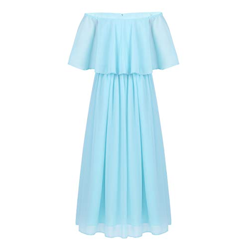 b72da325bf4 iEFiEL Junior Bridesmaid Dress Big Girls Formal Flower Chiffon Off-Shoulder  Maxi Dress Wedding Party Dance Ball Gown Sky Blue 10