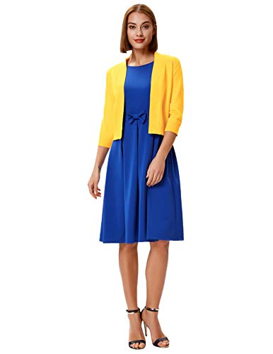 GRACE KARIN Women's Classic Sweater Open Front Sweater 3/4 Sleeve Cropped Cardigans (Yellow,S)