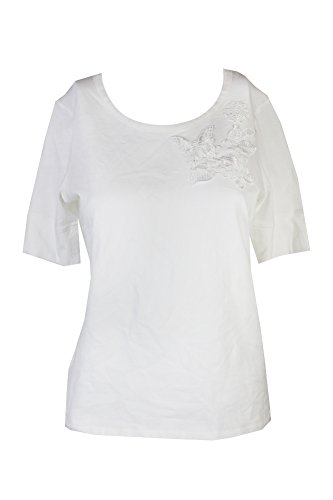 s Embroidered Short Sleeves Casual Top Ivory L ()