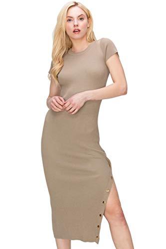 Monologue Apparel Women's Short Sleeve Casual Midi Bodycon Ribbed Snap Side Slit Dress (Taupe, Medium)
