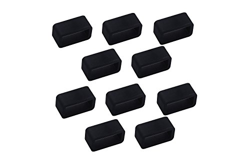 10 Pcs Security Fix Clasp Compatible Samsung Galaxy Gear Fit/Fitbit Flex/Garmin Vivofit/Fitbit Charge HR Wristband Fastener Loop Ring Smart Watch Band - Black