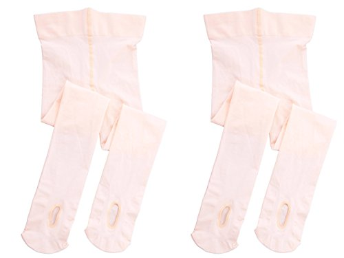 STELLE Girls' Ultra Soft Pro Dance Tight/Ballet Transition Tight (Toddler/Little Kid/Big Kid)(L, 2-Pair-Ballet Pink-Pack)