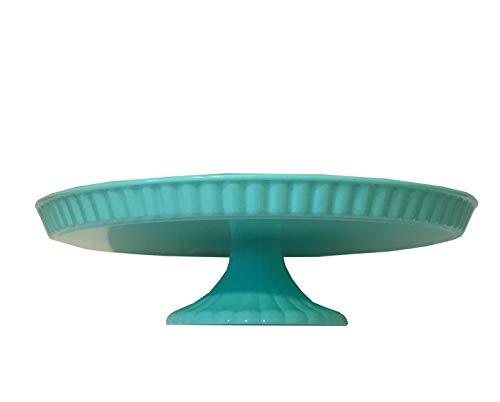 - Mint Seafoam Green Tiffan Blue Plastic Round Pedestal Cake Stand Plate 9.5
