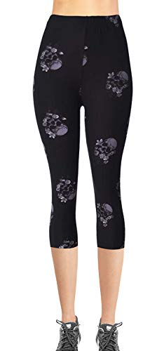 - VIV Collection Plus Size Printed Brushed Buttery Soft Capris (Ghost Floral Skull)