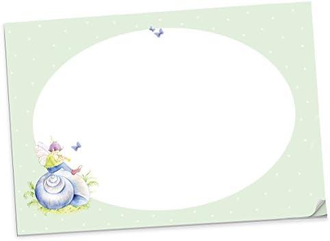 """Schreibtischunterlage """"MIT ELFE UND SCHNECKENHAUS"""" in Grün • Super für Schulkinder als Malblock zum Abreißen (Unterlage, Malbuch, Abreißblock zum Schulstart, Einschulung) 25 Blatt • 48,5 x 33,5 cm"""