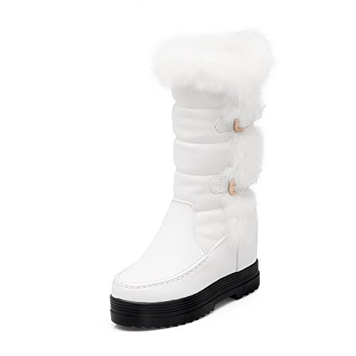 Soft Closed Heels Women's Boots Toe Low top White High Round Material WeiPoot Solid wHxq4npYnS