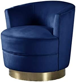 Best Master Furniture Josie Tufted Velour Swivel Living Room Accent Chair, Blue