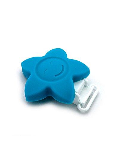 RUBY - 1 Pinzas de Silicona Clips Estrella Pinzas de Chupete para Niños Bebés. ENVÍOS Desde ESPAÑA (Azul)