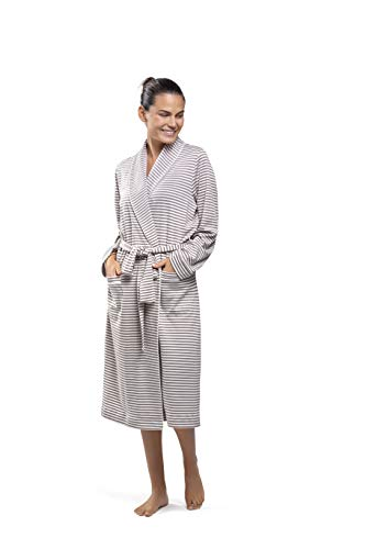 PJ.PIMA Super Soft Peruvian Pima 100% Collar Classic Robe (Earthy Taupe/Soft Cream Stripes, Large X Large -