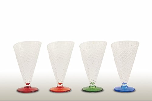 Trasparente//Multicolore 4 unit/à Galileo Casa Ice Cream Set Coppe Gelato