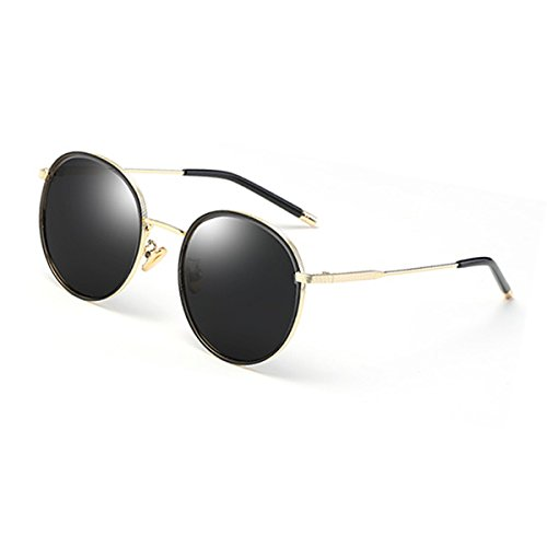 Gold Drive Frame Coreano HLMMM polarizadas Color frame Gafas Gafas Sol Sol gray Mercury Gold UVA Espejo UVB Redonda Party Cara de Femeninas de Travel Party black qqRAB