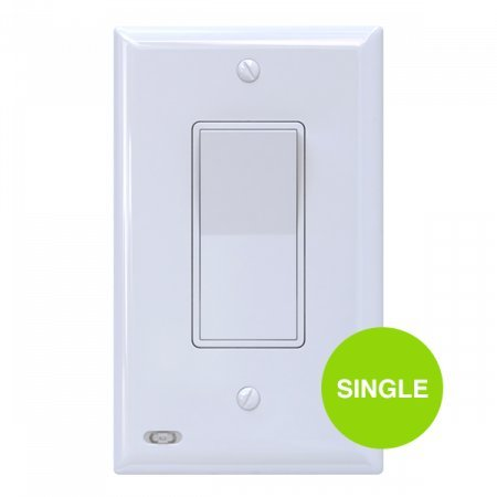 Single SnapPower SwitchLight - Light Switch Cover Plate With Built-In LED Night Light - Add Ambience Lighting To Your Home In Seconds - (Rocker, White)
