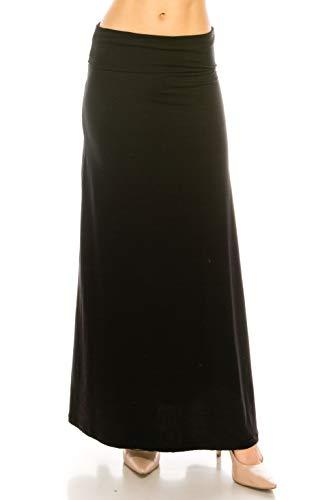 EEVEE Printed Foldover Waistband Fashionable Maxi Skirt Dress (Black, Plus Size)