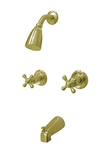 Kingston Brass KB242AX Magellan Twin Handle Tub and Shower Faucet with Decor Cross Handle, Polished Brass