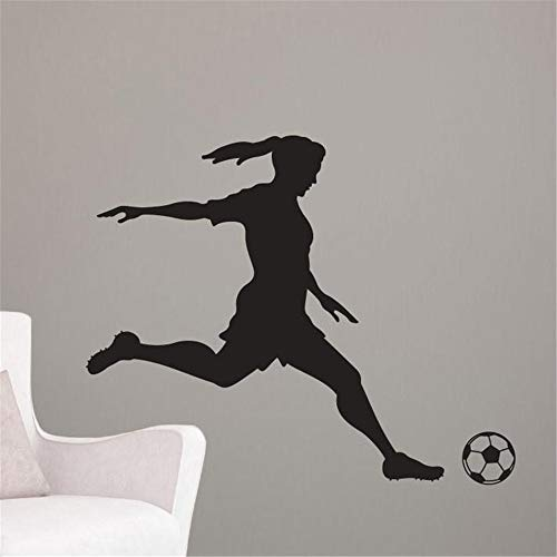 Vinyl Wall Decal Wall Stickers Art Decor Girl Soccer Player Kicking -