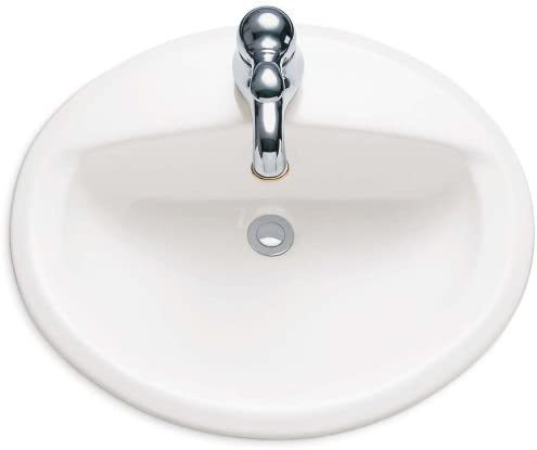 American Standard 0475047.020 Aqualyn Oval Drop-In Bathroom Sink with Single Faucet Hole, White