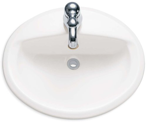 American Standard 0475.047.020 Aqualyn Self Rimming Countertop Sink with Center Hole Only and Tapered Edges, White ()