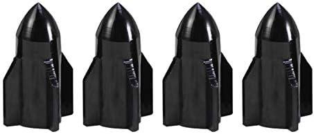 LIOOBO 4PCSバルブダストキャップアルミ合金ロケットシェイプ自動車オートバイダストキャップ(ブラック)