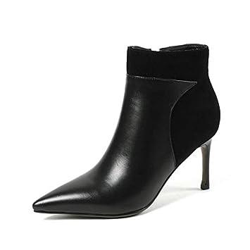 a8516a48bc1101 HOESCZS 2019 Winer Chaussures en Cuir Véritable + PU All Match Femmes  Bottines Bottes Mince Talon