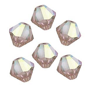 SWAROVSKI ELEMENTS Crystal Bicones 5301 4mm Vintage Rose AB Beads - Bicone 5301 Rose