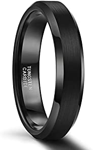 SHINYSO 4mm 6mm 8mm Tungsten Rings for Men Women Matte Finish Wedding Band Comfort Fit Size 5-13