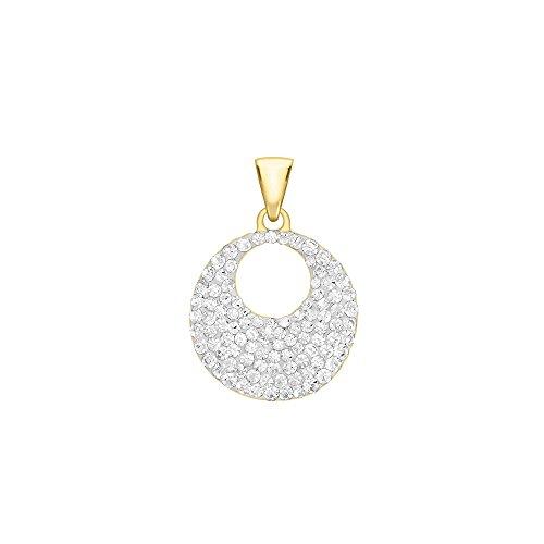 Jouailla - Pendentif plaqué or 375/1000e forme disque, incrusté de cristaux blancs