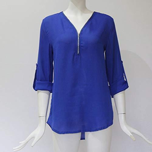 V Donna Roll Lunghe a Neck Up Chiffon Solid Maniche Camicetta Top Pullover Zipper in Republe U5ZxXU